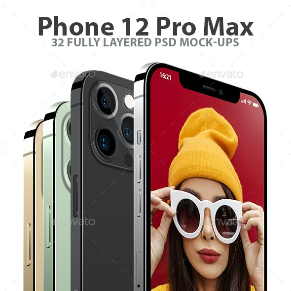iPhone 12 Pro Vector Layered PSD Mock-ups in 4 Colors