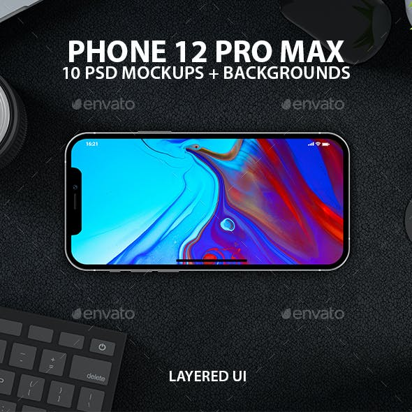 iPhone 12 PSD Mock-ups with Backgrounds
