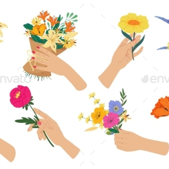 Woman Hand Holding Flower Bouquet Spring Flowers