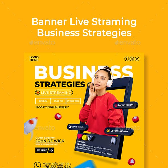 banner live streaming business strategies template