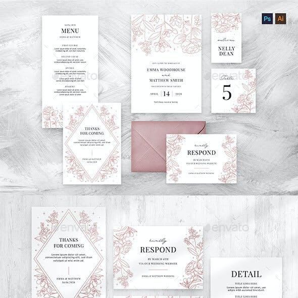 Floral Line Art Wedding Stationery Suite