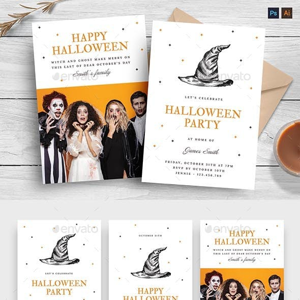 Minimal Halloween Greetings Card Template