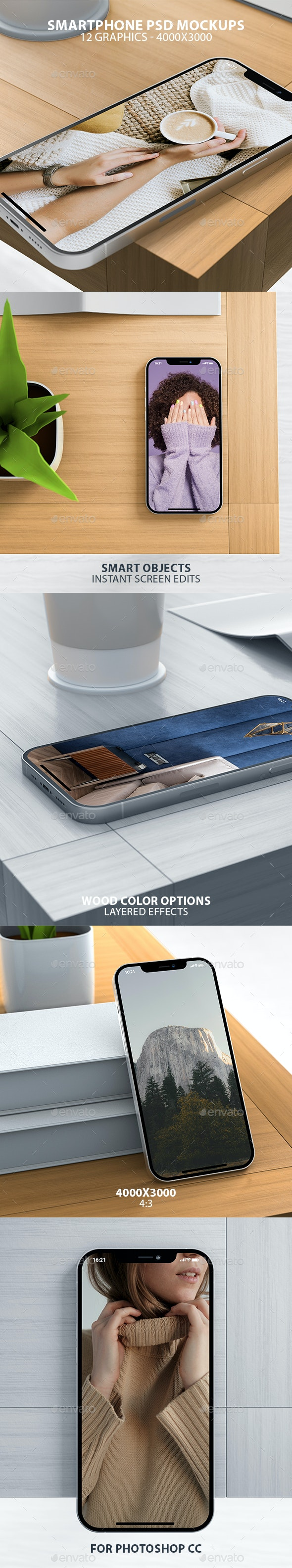 Realistic iPhone on Wooden Table PSD Mockups - Mobile Displays