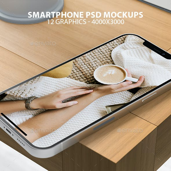 Realistic iPhone on Wooden Table PSD Mockups