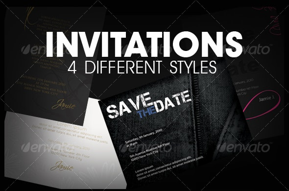 Invitations (4 styles) - Invitations Cards & Invites
