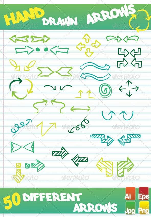 Hand Drawn Arrows Vector - Decorative Symbols Decorative