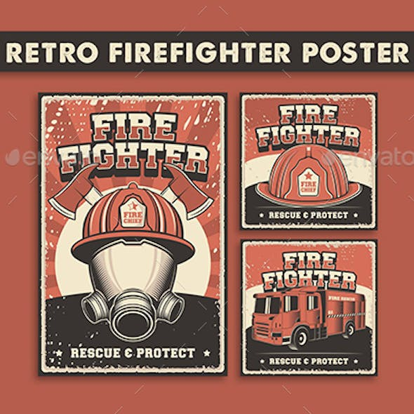 3 Vector Images of Retro Firefighter Poster
