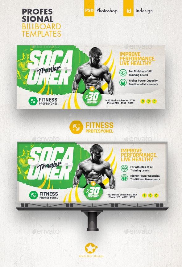 Fitness Trainer Billboard Templates - Signage Print Templates