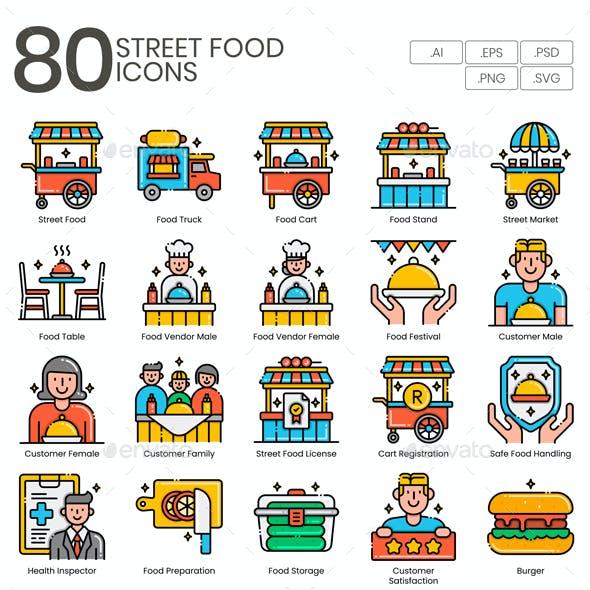 75 Street Food Icons | Aesthetics Series