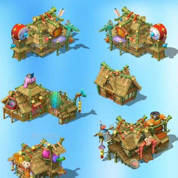2.5D Fantasy Village Home Houses Buildings Game Assets