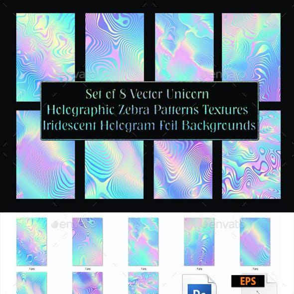 Set of 8 Vector Unicorn Holographic Light Zebra Patterns Textures - Iridescent Rainbow Hologram Foil