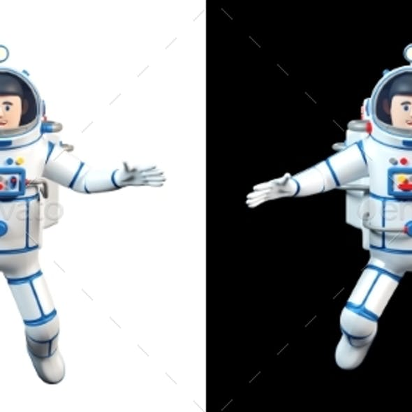 Cartoon 3d Astronaut Flies in Open Space