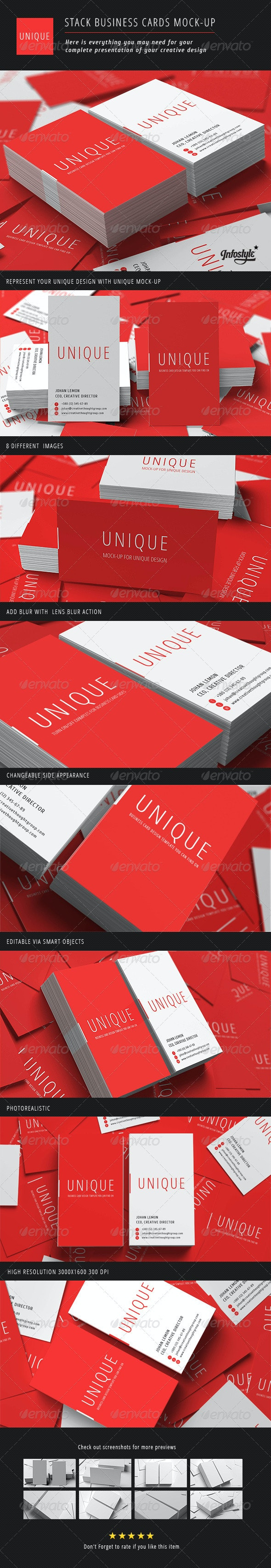 Stack Business Cards Mock-Up - Business Cards Print