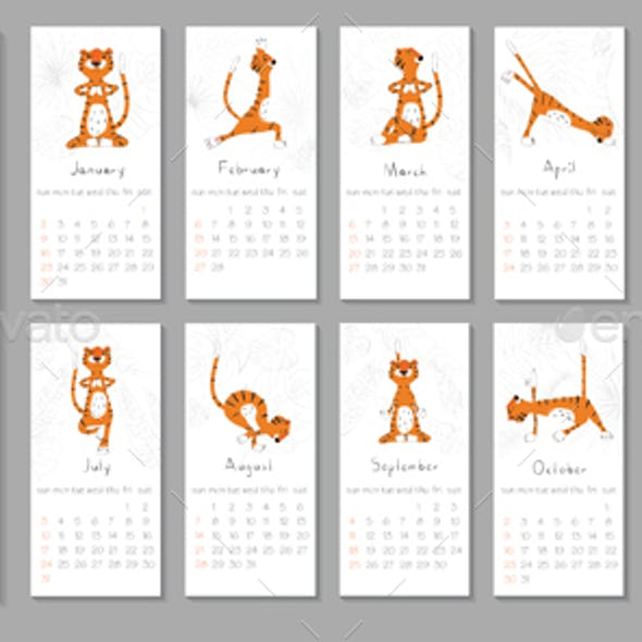 Cute Printable Template with Tiger Doing Yoga. 2022 Trendy Calendar Design. Set of 12 Months.