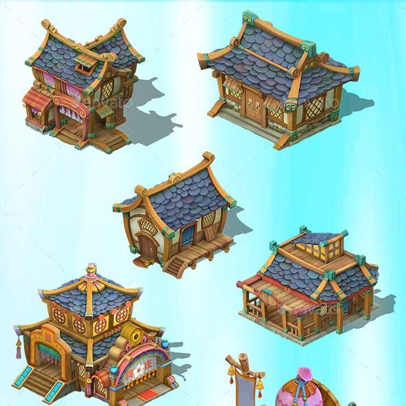 2.5D Fantasy Village Home Hut Building Construction Kit Game Assets