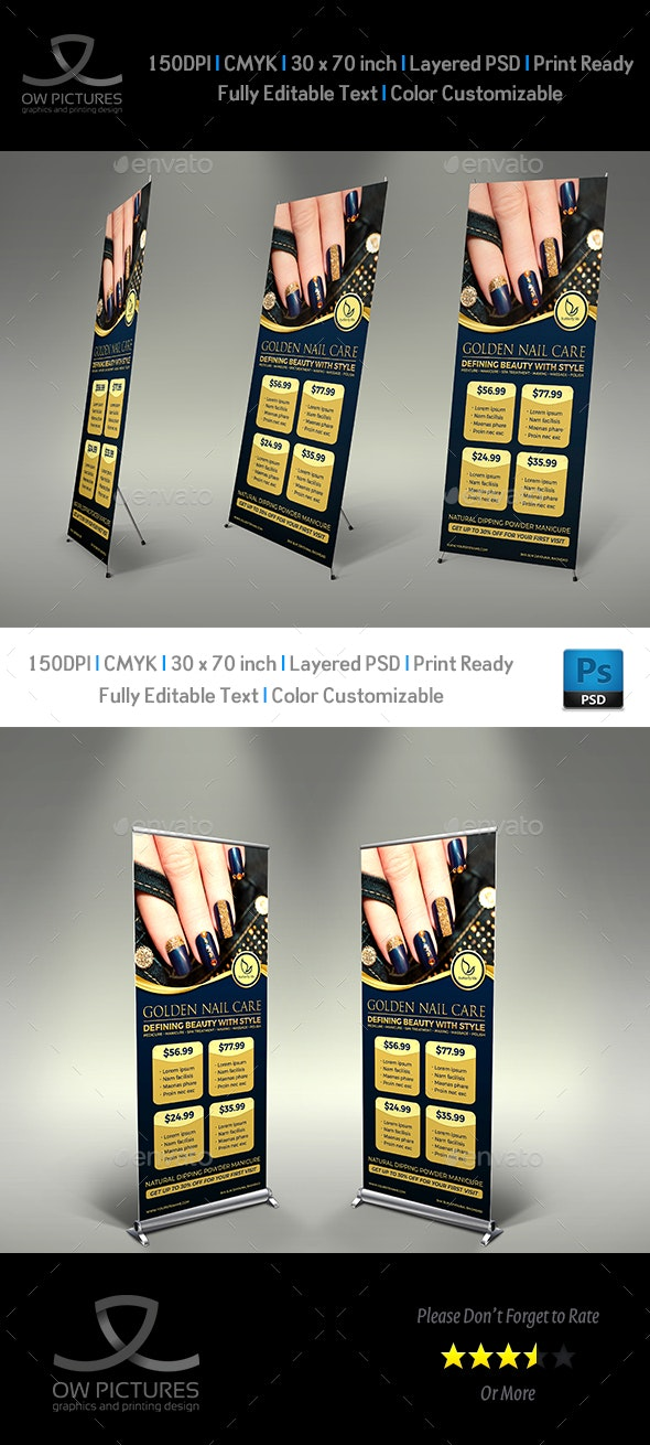 Nail Salon Signage Banner Roll Up Template Vol.2 - Signage Print Templates