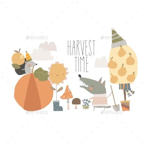 Funny Friends Animals Harvesting in Autumn Garden
