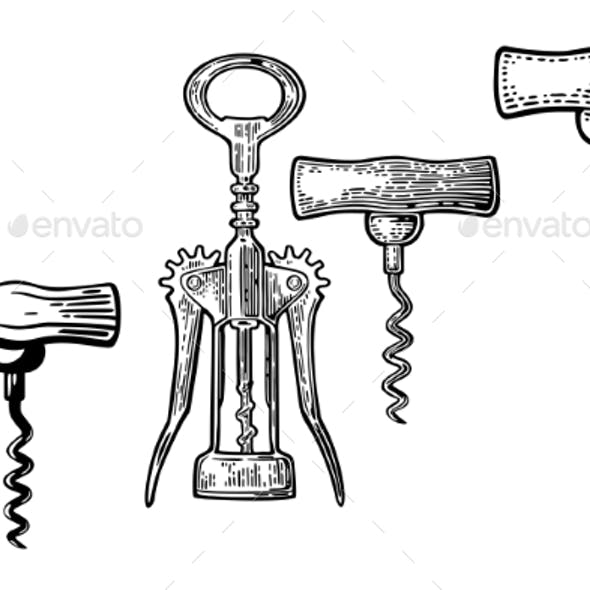 Wing Corkscrew Basic Corkscrew and Cork