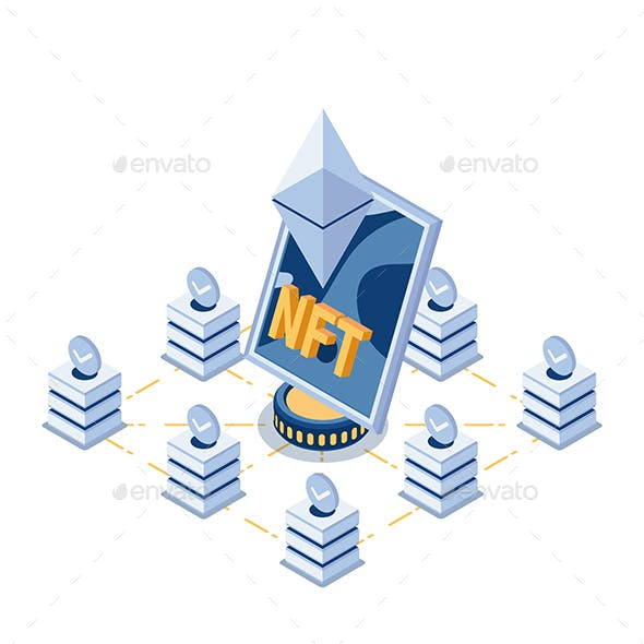 Isometric NFT Non Fungible Tokens Art in The Center of BlockChain Technology