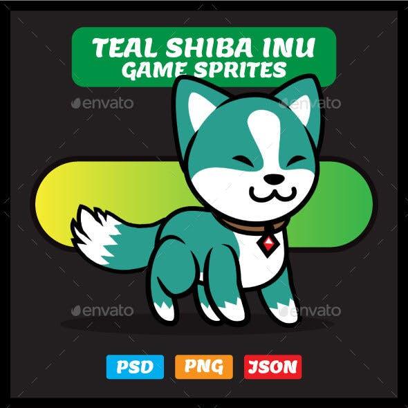 Teal Shiba Inu Game Sprites