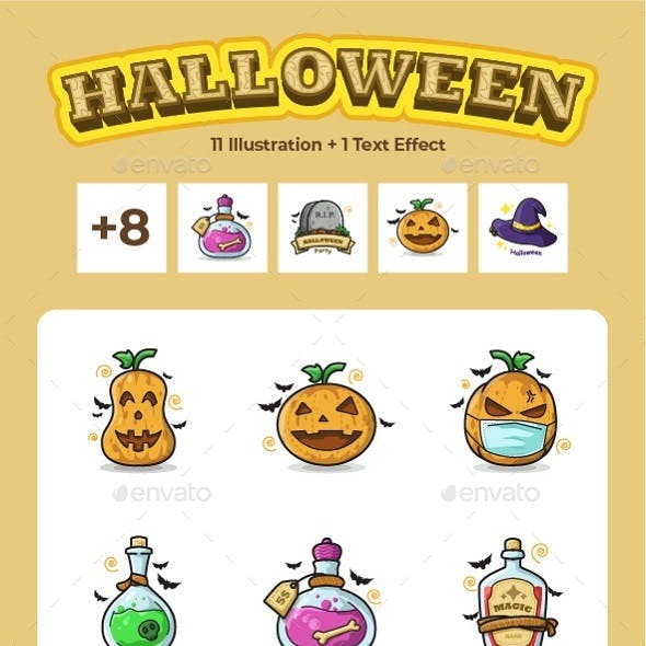 Set of Cute Halloween Line Art Illustration and Text Effect