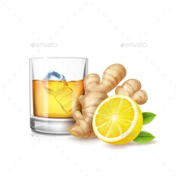 Ginger Ale Vector Realistic Illustration