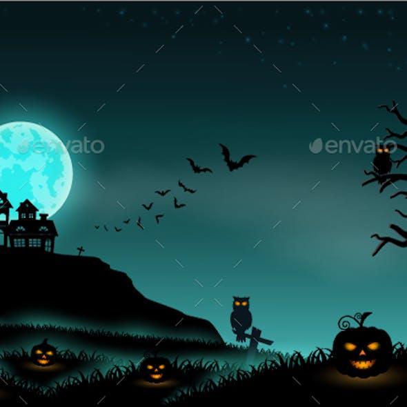 Halloween Night Background Landscape