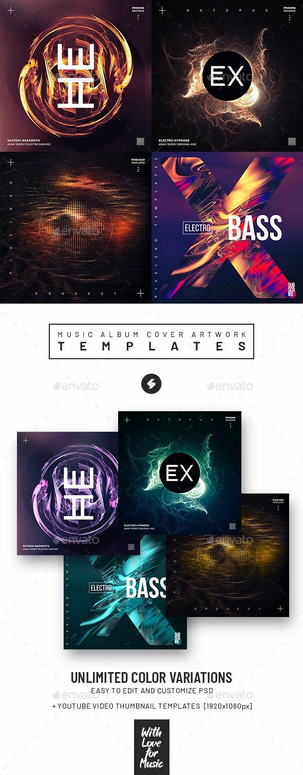 Music Album Cover Artwork Templates Bundle 75 - Miscellaneous Social Media