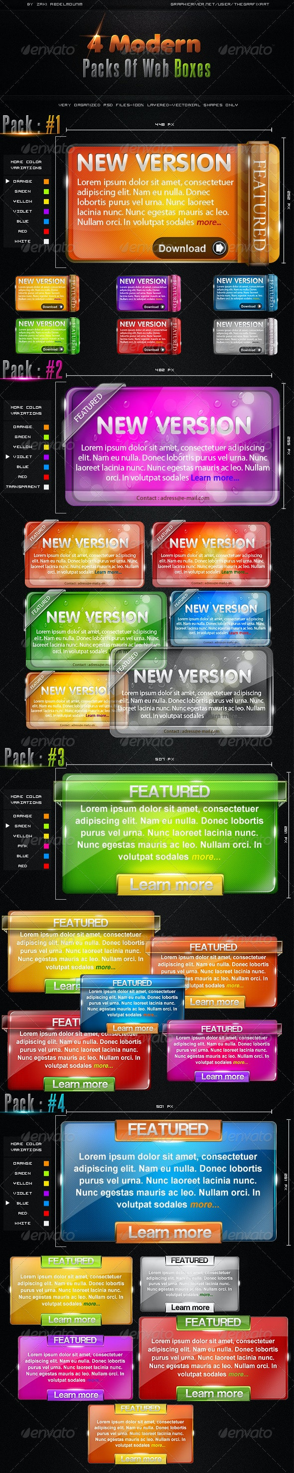 4 Modern Packs of Web Boxes - Miscellaneous Web Elements