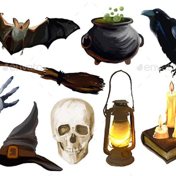 Set of the Halloween illustrations