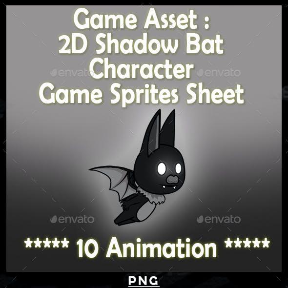 Game Asset :2D Shadow Bat Character Game Sprites Sheet