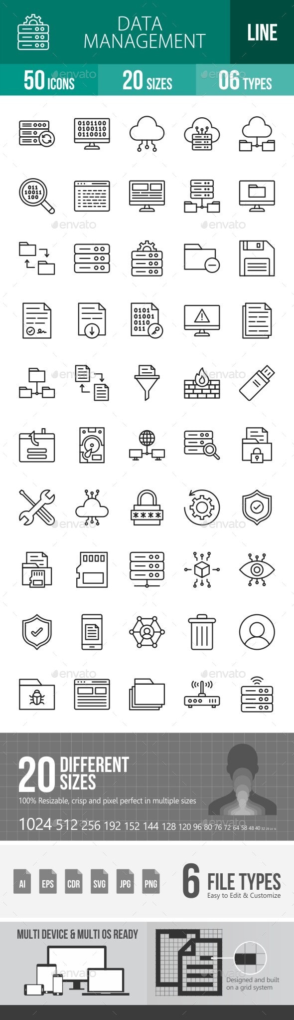 Data Management Line Icons - Icons