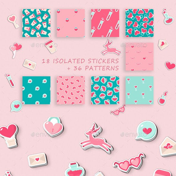Love Hearts Patterns and Stickers