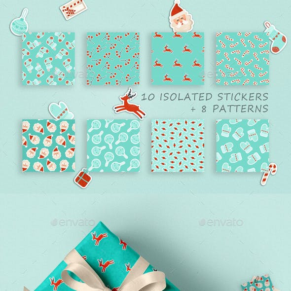 Christmas Digital Papers & Stickers