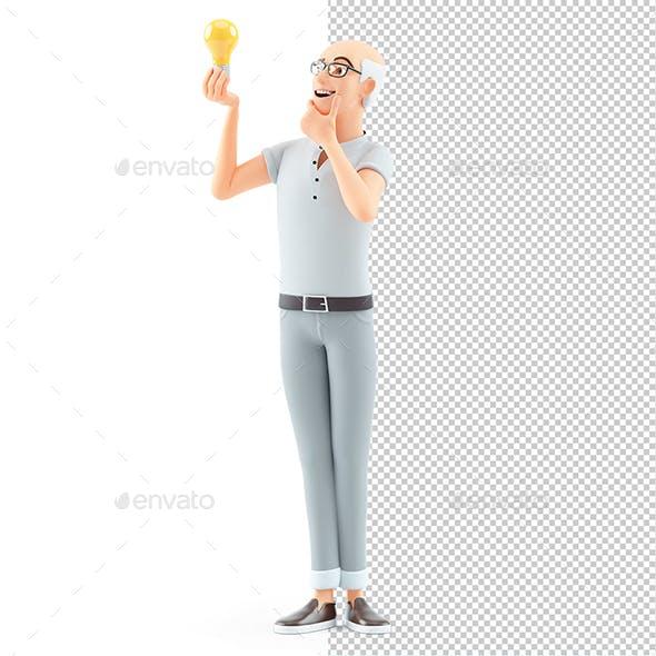 3D Senior Man Looking at Light Bulb