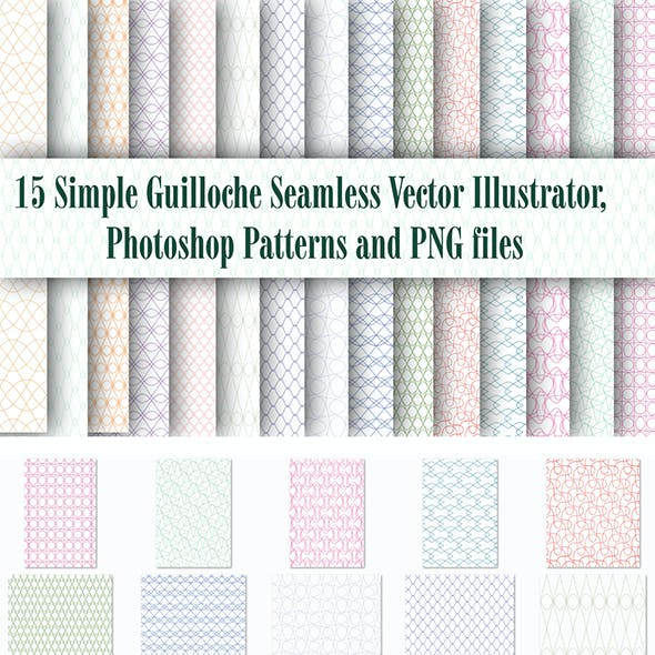 15 Simple Guilloche Seamless Vector Illustrator, Photoshop Patterns and PNG files
