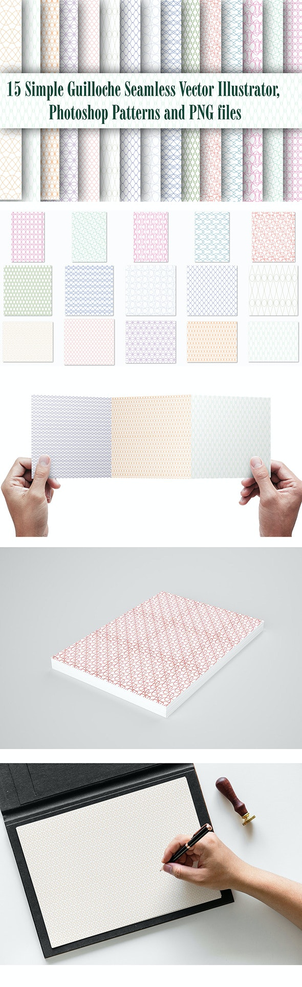 15 Simple Guilloche Seamless Vector Illustrator, Photoshop Patterns and PNG files - Abstract Textures / Fills / Patterns