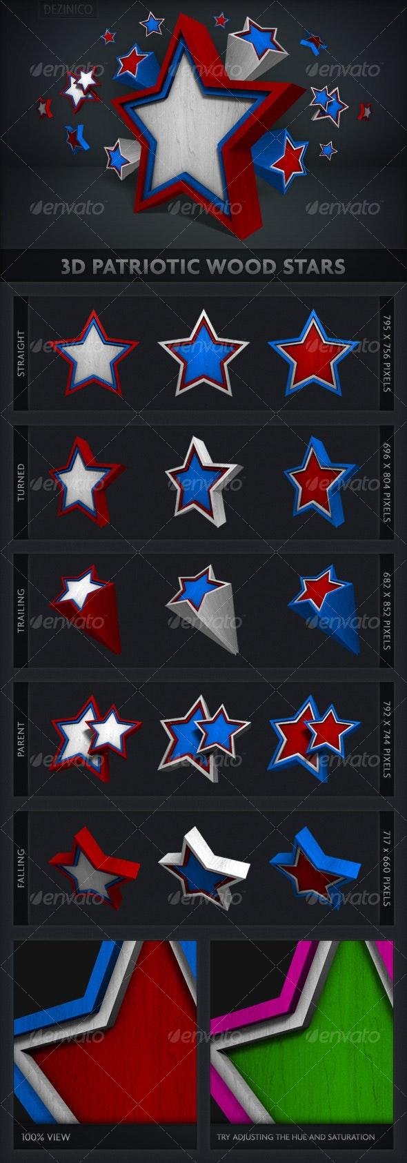 3D Patriotic Wood Stars - Objects 3D Renders