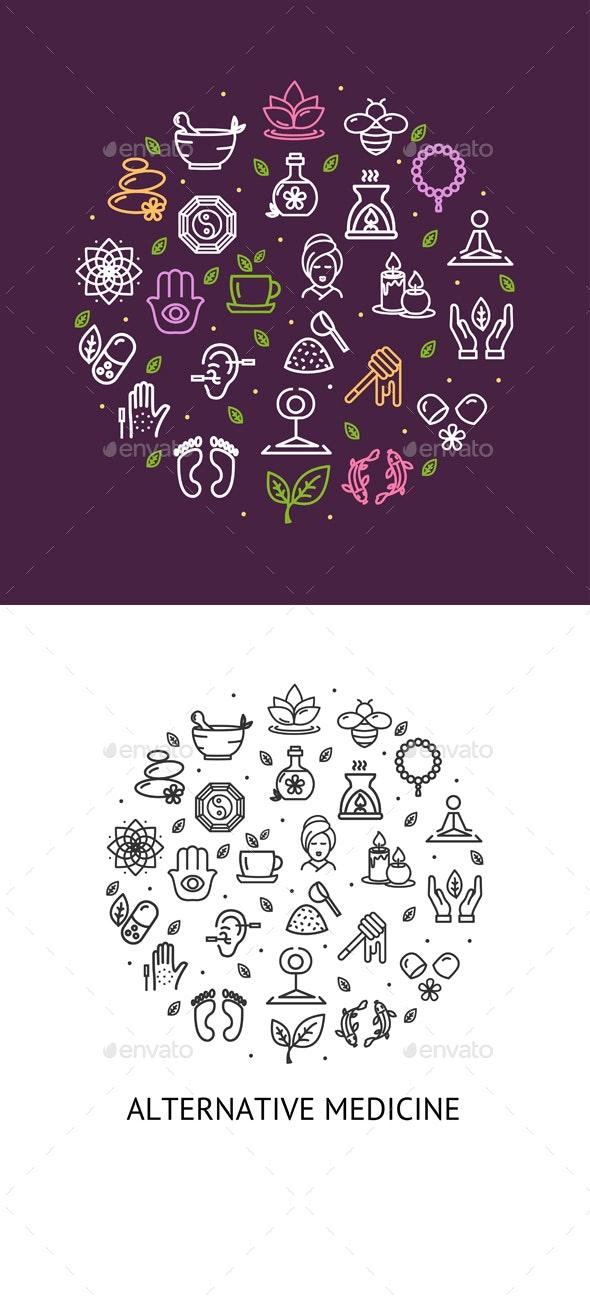 Alternative Medicine Round Design Template Contour Lines Icon Concept. Vector - Illustrations Graphics