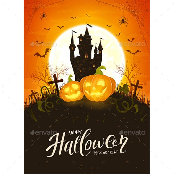 Halloween Theme with Pumpkins and Castle on Orange Background