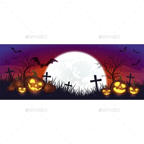 Purple Halloween Background with Bat and Pumpkins