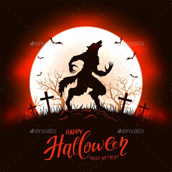 Red Halloween Background with Werewolf