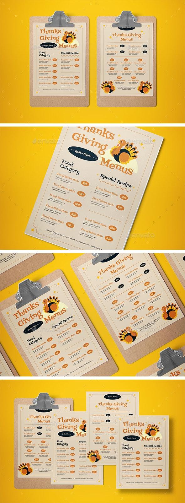 Food Menu Thanksgiving - Food Menus Print Templates