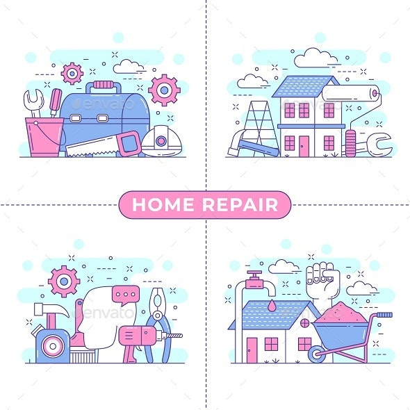 Home Repair Concept Illustration - Buildings Objects