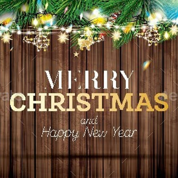 Fir Branches with Neon Lights and Golden Garland with Helicopters on Wooden Background.