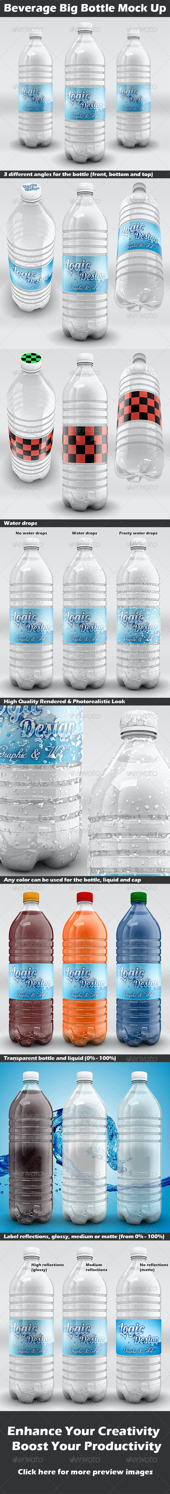 Beverage Big Bottle Mock Up - Food and Drink Packaging