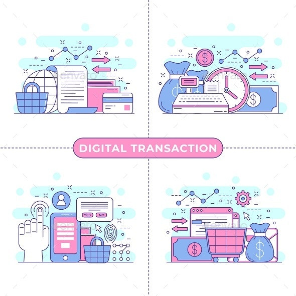 Digital Transaction Concept Illustration - Commercial / Shopping Conceptual