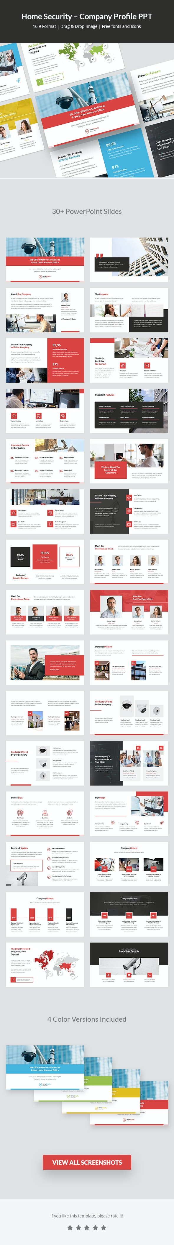 Home Security – Company Profile PPT - PowerPoint Templates Presentation Templates