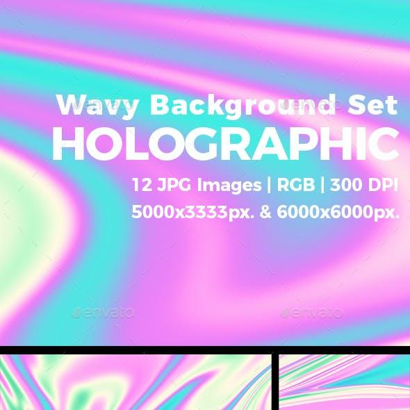 Holographic Wavy Background Set