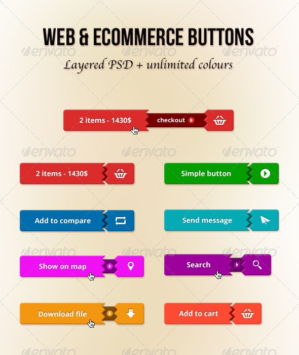 Web and E-Commerce Buttons - Buttons Web Elements